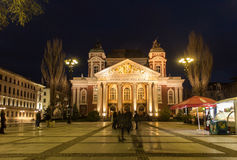 National theatre Ivan Vazov in Sofia night scene Royalty Free Stock Images