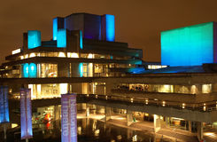 National Theatre, London. Night view of the Royal National Theatre in London, iconic sixties new brutalist architecture stock photography