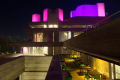 National Theatre, London. Night view image of National Theatre, London. Brutalist iconic architecture Royalty Free Stock Photo