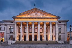 National Theatre Munich. The National Theatre Munich at dusk. Max-Joseph-Platz Square in Munich, Germany Royalty Free Stock Photos