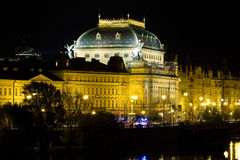 National Theatre at night in Prague Royalty Free Stock Photos
