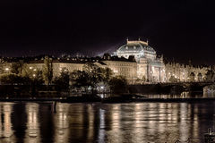 National theatre at night in Prague Royalty Free Stock Photography