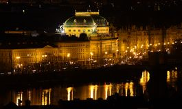 National Theatre - Prague in night Stock Photos