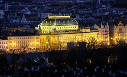 National Theatre - Prague in night Stock Images