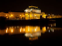 National Theatre in Prague at night Royalty Free Stock Photography