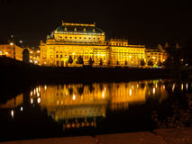 National Theatre in Prague at night Stock Images