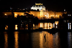 National Theatre in Prague - Night view Royalty Free Stock Photos