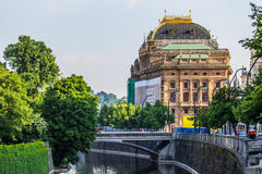 National theatre in Prague on the Vltava river Royalty Free Stock Photo