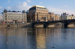 National Theatre in Prague, Czech Republic. National Theatre and river Vltava in Prague, Czech Republic Stock Photos