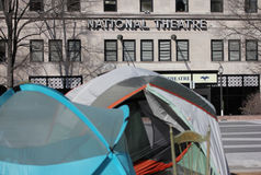 National Theatre with Tents at Freedom Plaza Royalty Free Stock Photo