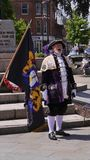 National Town Crier Competition held Exmouth Devon in South West England Summer 2018. Town Criers at The National Town Crier Competition held in Exmouth a royalty free stock image