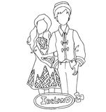 The national traditional ethnic costume  for men and woman of the country Royalty Free Stock Images