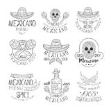 National Traditional Mexican Cuisine Restaurant Hand Drawn Black And White Sign Design Template Collection With Cultural Stock Image