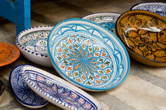 National traditional pottery. Sold on the street. Mahdia. Royalty Free Stock Image