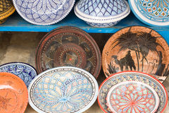National traditional pottery. Sold on the street. Mahdia. Royalty Free Stock Photography