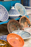 National traditional pottery. Sold on the street. Mahdia. Royalty Free Stock Photo