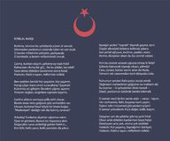 National Turkish istiklal marsh as independence anthem vector poster with text. On red background Royalty Free Stock Images