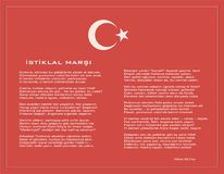 National Turkish istiklal marsh as independence anthem vector poster with text. On red background Royalty Free Stock Photo