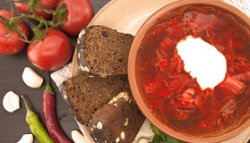 National ukrainian and russian soup borsch with sour cream in ce Royalty Free Stock Images