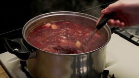 National ukrainian soup borsch cooking stock footage