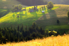 National Ukrainian village of Carpathian Mountains, dream landsc Royalty Free Stock Image