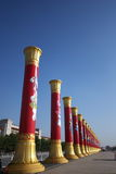 National unity pillar in Tian'anmen Square. Beijing, China.  They are for the holiday of 60th National Day of China Royalty Free Stock Photo