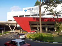 National University Hospital building. Entrance of the National University Hospital building in Singapore in the morning Royalty Free Stock Photos