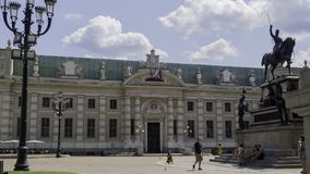 National University Library of Turin. August 2018: Entry of the National University Library of Turin. In front of it is the statue of King Carlo Alberto. August stock image