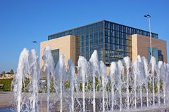 National and University Library in Zagreb, Croatia. National and University Library in Zagreb behind water curtain,  is the national library of Croatia and royalty free stock photos