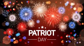 National USA Patriot Day United States Holiday Fireworks Banner Royalty Free Stock Photography