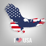 National USA symbol eagle with an official flag and map silhouette. North America. Vector Stock Photos