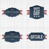 National Veterans Day Labels with Ribbons. On textile Background. Vector Illustration Royalty Free Stock Image