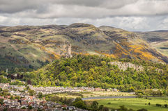National Wallace Monument seen from the Stirling Castle. Panoramic view of Stirling, as seen from the Stirling Castle, with the National Wallace Monument in the Royalty Free Stock Photos