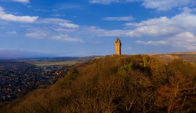 The National Wallace Monument is a tower standing on the shoulder of the Abbey Craig, a hilltop overlooking Stirling in Scotland. It commemorates Sir William royalty free stock photos