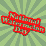 National Watermelon Day banner with cartoon text. National Watermelon Day banner with cartoon text and background with green striped rays Royalty Free Stock Image