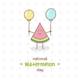 National Watermelon Day. Vector Illustration. Watermelon with balloons Royalty Free Stock Photo