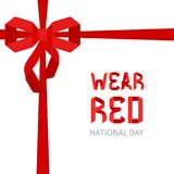 National wear red day. Wear red national day poster with red origami ribbon on white background. Heart disease and stroke awareness design template. Vector Stock Photography
