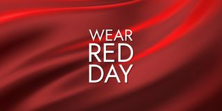 National wear red day. Vector holiday illustration of wavy fabric flag. Awareness day of women heart desease prevention Stock Photo