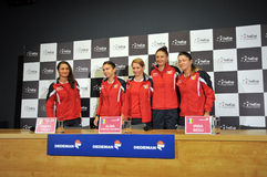 National Women Tennis Team of Romania during a press conference Royalty Free Stock Images