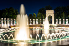 The National World War II Memorial Fountains at night at the Nat. Ional Mall in Washington, DC Stock Image