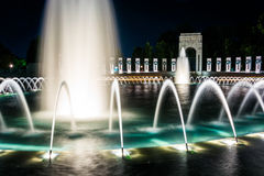The National World War II Memorial Fountains at night at the Nat. Ional Mall in Washington, DC Royalty Free Stock Image