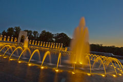 National World War II Memorial in Golden Light. Fountains of the National World War II Memorial in Washington, D.C. Photo made 4 August 2013 Royalty Free Stock Photography