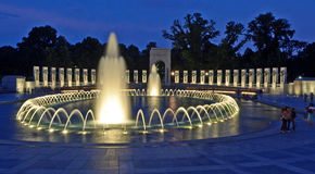 National World War II Memorial at Night. A night scene of the National World War II Memorial and its illuminated fountains, located in Washington D.C.  The Stock Images