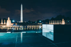 The National World War II Memorial and Washington Monument at ni. Ght, in Washington, DC Royalty Free Stock Images