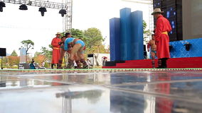 National wrestling. Demonstrations Mongolian wrestlers on the stage stock video footage