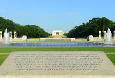 National WWII Memorial in Washington DC, USA. National WWII Memorial looking towards to the Lincoln Memorial in Washington, District of Columbia, USA stock image