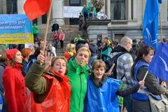 Nationale Äusserung gegen die Strengemaßnahmen eingeführt von der belgischen Regierung Stockbild