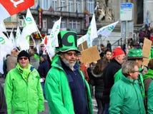 Nationale Äusserung gegen die Strengemaßnahmen eingeführt von der belgischen Regierung Stockfotografie