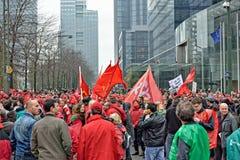 Nationale Äusserung gegen die Strengemaßnahmen eingeführt von der belgischen Regierung Stockbilder