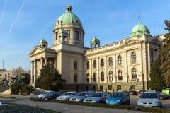 Nationale assemblee van de Republiek in het centrum van stad van Belgrado, Servië stock afbeelding